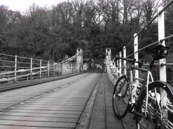 Posing at Whorlton Bridge - the oldest chain suspension bridge in the world using its original chains...