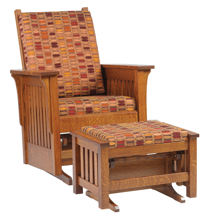 Amish Handcrafted 1300 Mission Glider And Ottoman Southern Outdoor Furniture