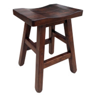 Amish Handcrafted Rustic Saddle Stool With Splined Seat