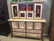 Amish Handcrafted Wormy Maple Walnut Hutch (Display Model $2575)