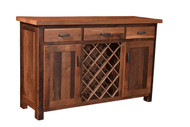 Amish Handcrafted Barnwood Almanzo Wine Server With Mission Doors