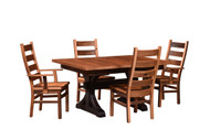 Amish Handcrafted Barnwood Croft Table With Barnwood Ladderback Chairs