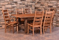 Amish Handcrafted Barnwood Grove Table & Barnwood Ladderback Chairs