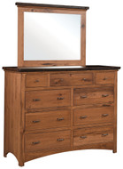 Amish Handcrafted Lewiston  Dresser & Square Mirror