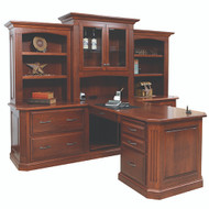 Amish Handcrafted Buckingham Partner Desk & 3-Piece Hutch