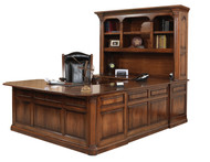 Amish Handcrafted Jefferson U-Shape Desk & Hutch