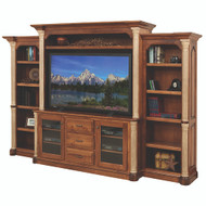 Amish Handcrafted Jefferson Entertainment Center With Side Bookcases