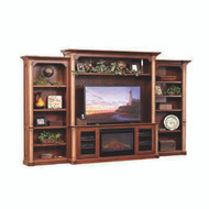 Amish Handcrafted Jefferson Entertainment With Side Bookcases & Fireplace