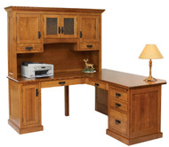 Amish Handcrafted Homestead Corner Desk & Hutch
