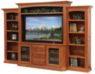 Amish Handcrafted Buckingham Entertainment With Side Bookcases