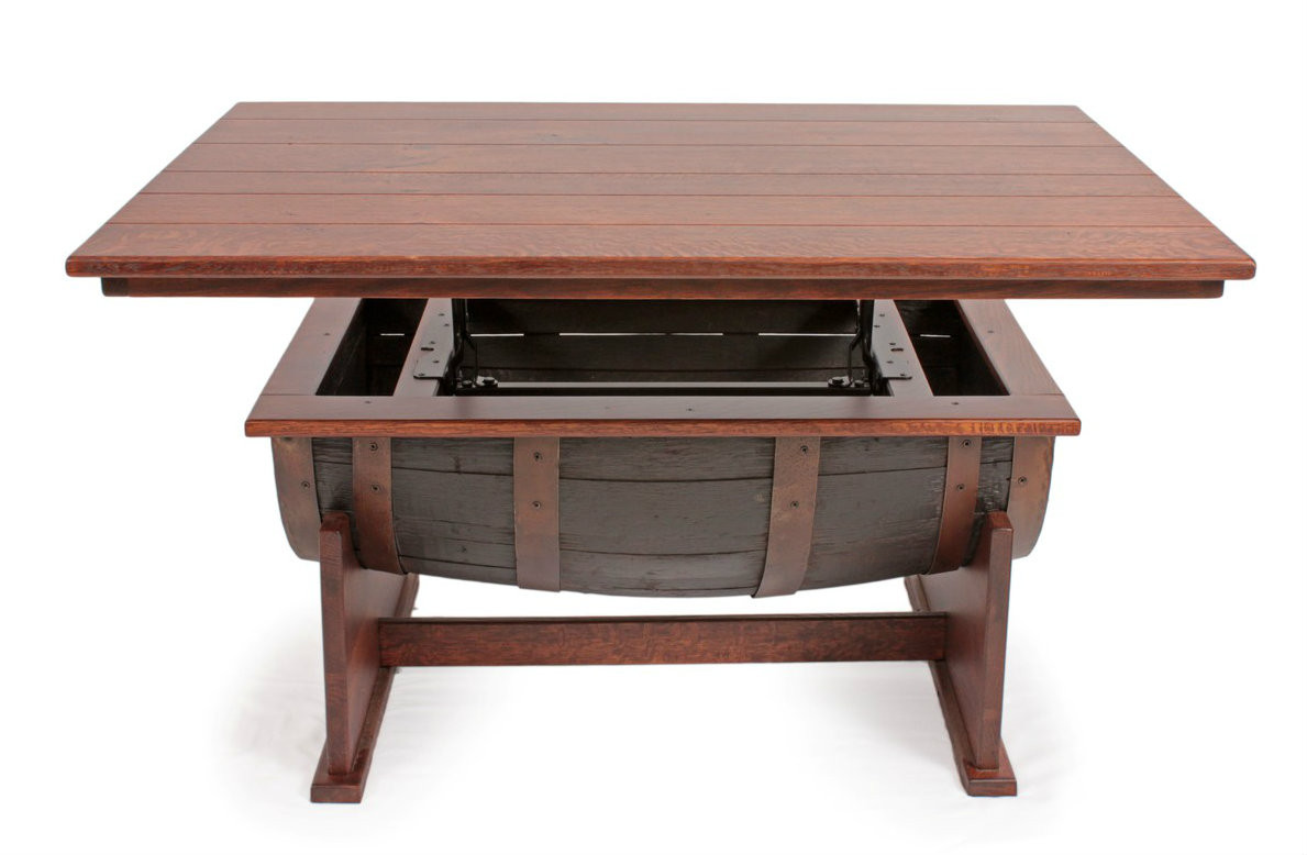 Amish Handcrafted Barrel Lift Top Coffee Table Southern Outdoor Furniture