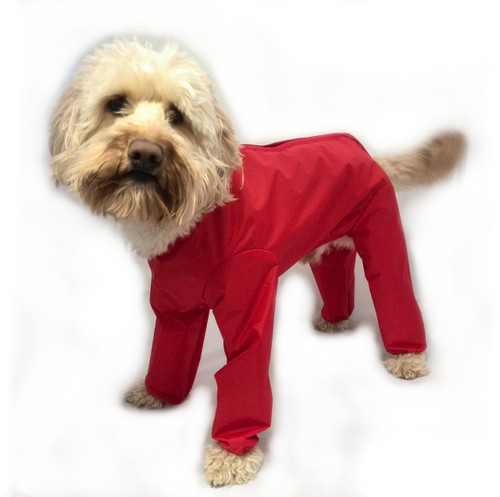 Trouser Suit Red Waterproof Dog Coat