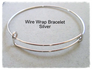 Wire Wrap Bangle Bracelet Stackable SILVER