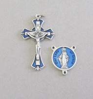 Our Lady of GRACE Rosary Crucifix & Centerpiece BLUE Enamel 2pc