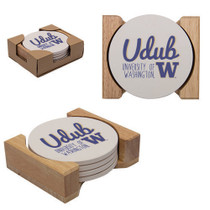 4 Pack Round Stone Coaster w/ Wood Holder