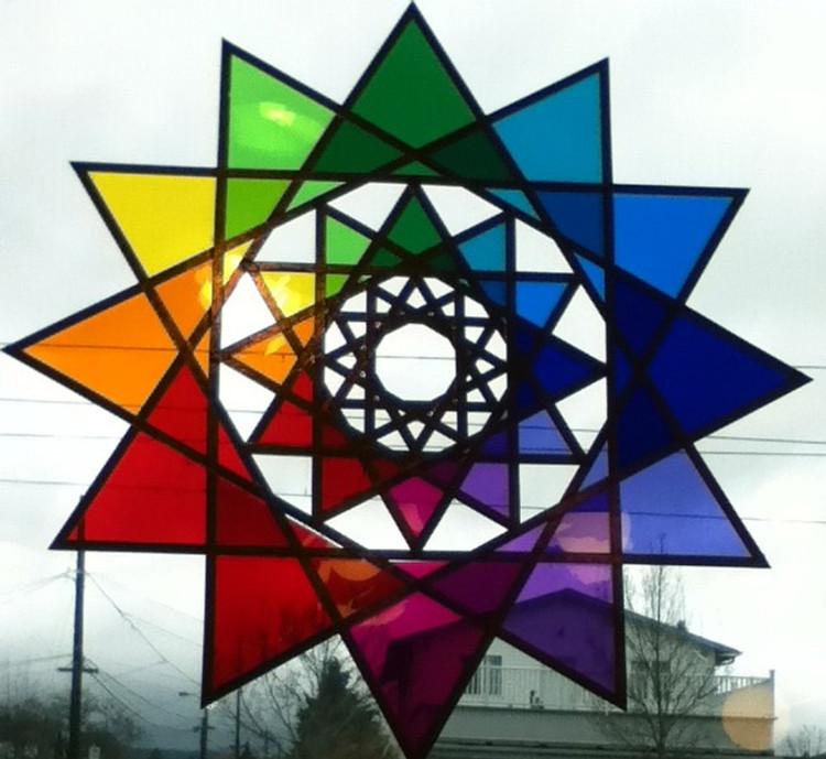 "14 "" Global Earth Star with Gels on Plexiglass"