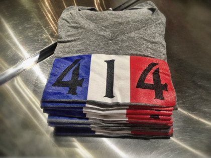 414 French shirt. Debuted last year at Milwaukee's Bastille Days (2016), this shirt is all Liberté égalité fraternité