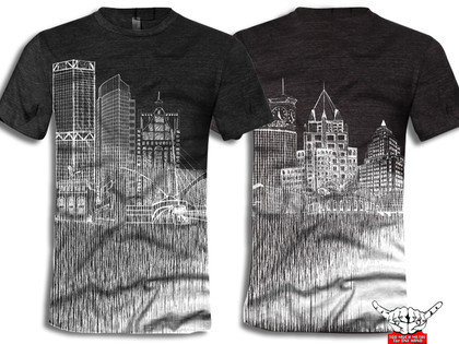 Rock over Milwaukee. Our ode to the city by the lake. Represent! Be proud of this fashion faded look. Buildings: US Bank, NML Tower, Mitchell Park Domes, 100 East Building, Milwaukee Art Museum, Eagles Ballroom and the Globe. Allen Bradley, Milwaukee Center, Gas Building, Miller Park, Milwaukee Bucks arena, and the Northwestern Mutual tower and 411 building.