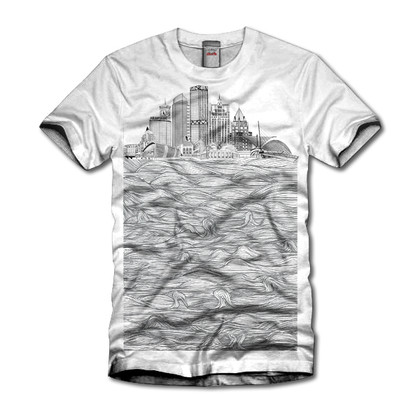 Women's Milwaukee skyline tri-blend white shirt with black ink.