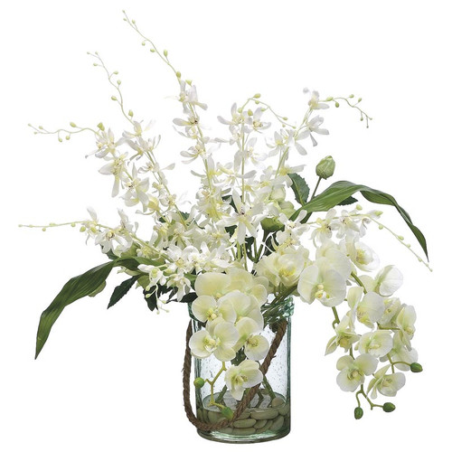 """Phalaenopsis Dendrobium Orchid in Glass Vase 24"""""""