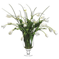 Tulips in Glass Vase 38""