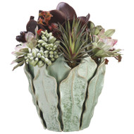 Succulents in Ceramic Leaf Vase 16""