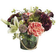 Hydrangea Lily Protea Rose in Glass Vase 14""