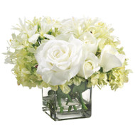 Hydrangea Rose Agapanthus in Glass Vase 11""