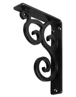 "1 1/2""W  x 7 1/2""D x 10""H Medway Single, Wrought Iron Bracket, (Single center brace)"