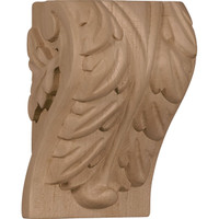 "3 1/4""W x 2 3/4""D x 5""H Medium Acanthus Leaf Block Corbel, Cherry"