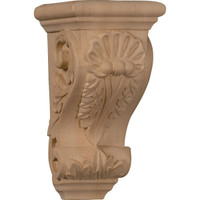 "3 1/2""W x 4""D x 7""H Small Shell Corbel, Red Oak"