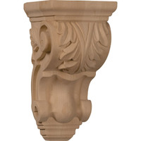"3 1/2""W x 4""D x 7""H Small Traditional Acanthus Corbel, Red Oak"