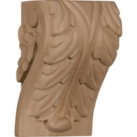 "3 3/4""W x 3 1/4""D x 6""H Large Acanthus Leaf Block Corbel, Hard Maple"