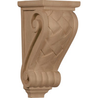 "4 1/2""W x 5""D x 10""H Medium Basket Weave Corbel, Red Oak"