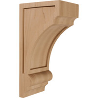 "4""W x 5""D x 10""H Diane Recessed Wood Corbel, Rubberwood"
