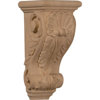 "4 1/2""W x 5""D x 10""H Medium Shell Corbel, Red Oak"