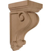 "5 1/4""W x 5 1/4""D x 9 1/2""H Devon Traditional Wood Corbel, Rubberwood"