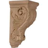 "5""W x 5""D x 10""H Medium Acanthus Wood Corbel, Paint Grade"