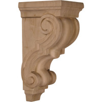 "4 1/2""W x 5""D x 10""H Medium Traditional Wood Corbel, Alder"
