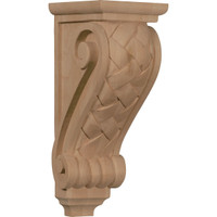 "5""W x 7""D x 14""H Large Basket Weave Corbel, Red Oak"