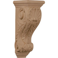 "5""W x 7""D x 14""H Large Shell Corbel, Red Oak"