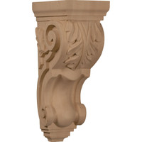"5""W x 7""D x 14""H Large Traditional Acanthus Corbel, Red Oak"