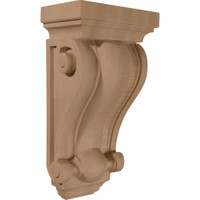 "6 1/4""W x 4""D x 12""H Cole Pilaster Wood Corbel, Red Oak"