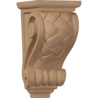 "3 1/2""W x 4""D x 7""H Small Basket Weave Corbel, Hard Maple"