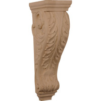 "6 1/2""W x 8""D x 22""H Small Jumbo Acanthus Wood Corbel, Rubberwood"