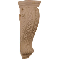 "7""W x 8 1/2""D x 26""H Medium Jumbo Acanthus Wood Corbel, Rubberwood"