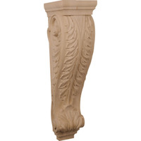 "9""W x 10""D x 34""H Super Jumbo Acanthus Wood Corbel, Rubberwood"