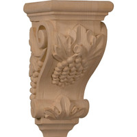 "3 1/2""W x 4""D x 7""H Small Grape Corbel, Mahogany"