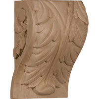 "4 1/2""W x 3 3/4""D x 7""H Extra Large Acanthus Leaf Block Corbel, Red Oak"