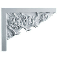 "9""W  x 7 1/4""H x  5/8""P Floral Small Stair Bracket, Right"